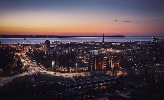 Helsingborg, Helsingør, City, Panoramic, Cityscape