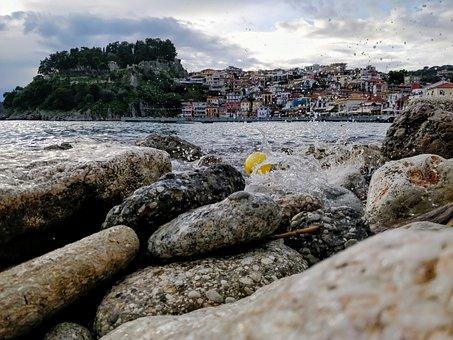 Rocks, Sea, Wave, Homes, Clouds, Sky, Balloon