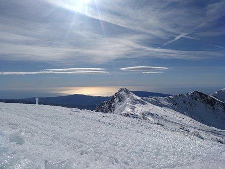 Snow, Winter, Mountain, Panoramic, Ice, Sierra Nevada