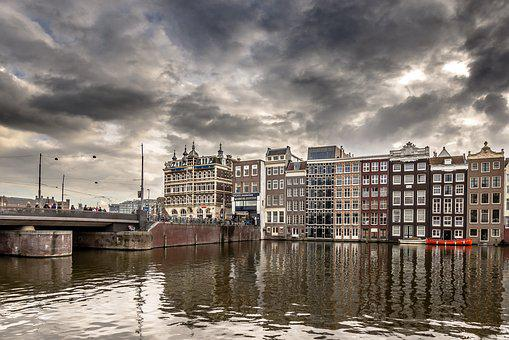 Water, City, River, Architecture, Panoramic, Amsterdam