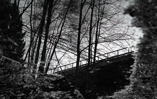 Black White, Puddle, Highway Bridge, Outdoor, Rain