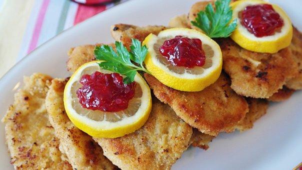 Schnitzel, Pork Cutlet, Lemon, Cranberries, Garnish