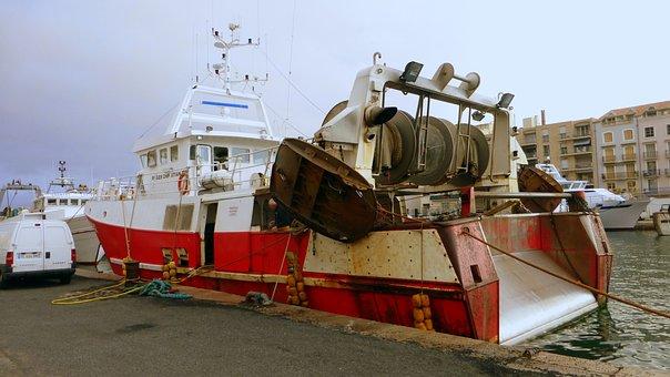 Industry, Transport, France, Sète, Sea, Ship, Boat
