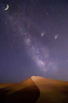 Astronomy, Galaxy, Moon, Sky, Space, Landscape