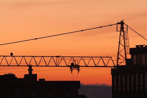 Industry, Sky, Sunset, Crane, Steel, Equipment