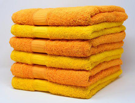 Towels, Yellow, Orange, Colorful, Structure, Color