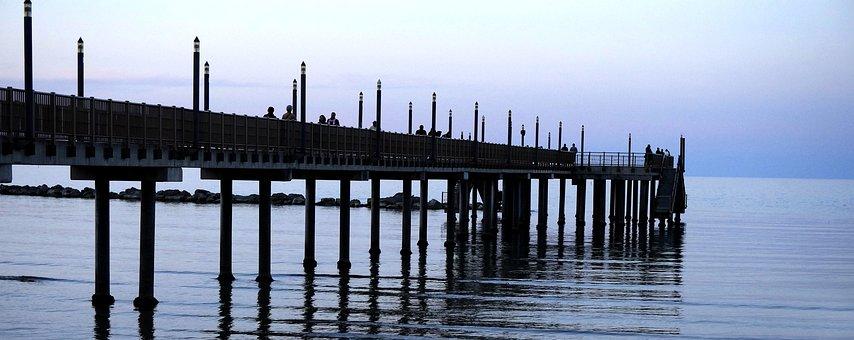 Waters, Pier, Sunset, Breakwater, Reflection, Bridge
