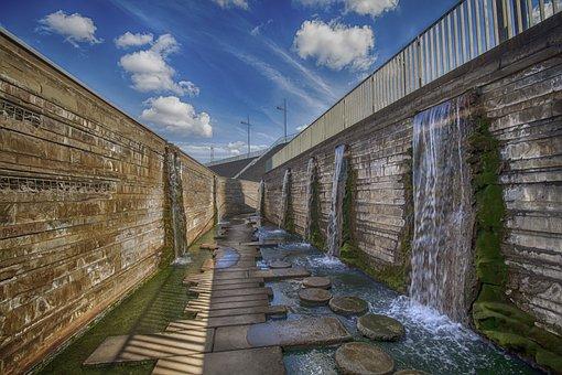 Architecture, Travel, Waters, Bridge, Waterfall, Hdr