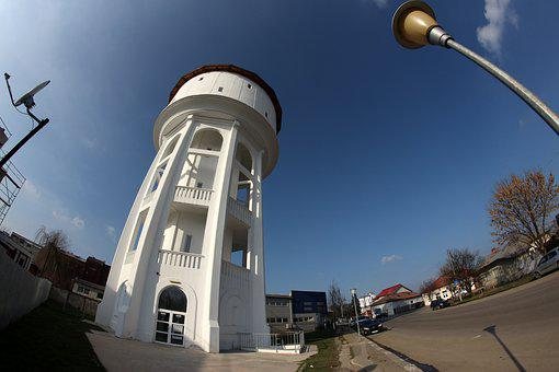 Tower, White, Tall, Fisheye