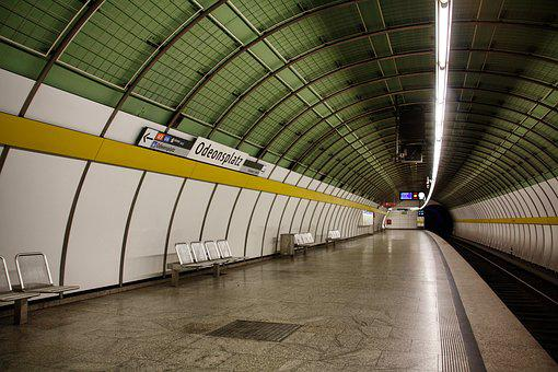 Metro, Within, Tunnel, Station, Transport System