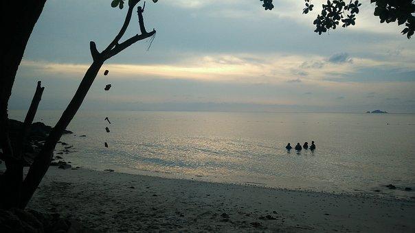 Water, Silhouetted, Sea, Sky, Beach, Malaysia
