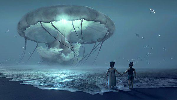 Fantasy, Beach, Children, Jellyfish, Night, Fairy Tales