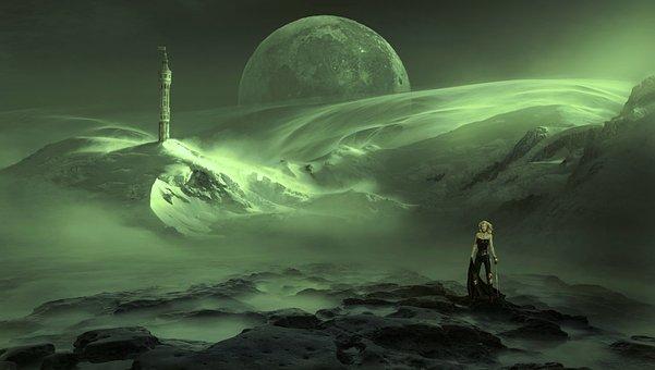 Fantasy, Landscape, Haze, Green, Tower, Moon, Mystical