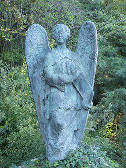 Stone, Sculpture, Cemetery, Nature, Angel, Wings
