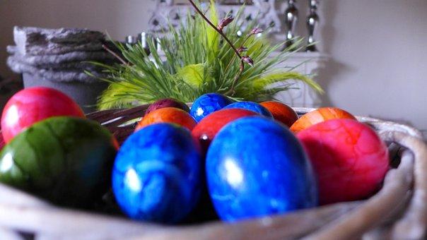 Easter Nest, Egg, Hare, Colored, Nest