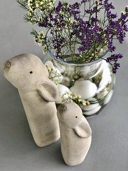 Easter, Egg, Flower, Easter Bunny, Rabbit, Hare, Vase