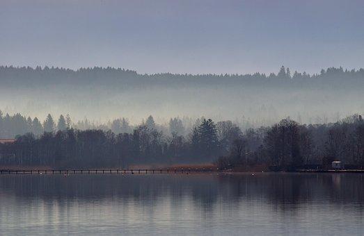 Waters, Dawn, Lake, River, Reflection, Fog, Twilight