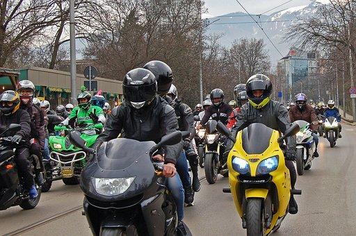 Motorcycle, Rally, Spring, Sofia, Street, Helmets