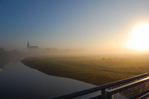 Sunset, Dawn, Sun, Dusk, Sky, Fog, Light, Altentreptow