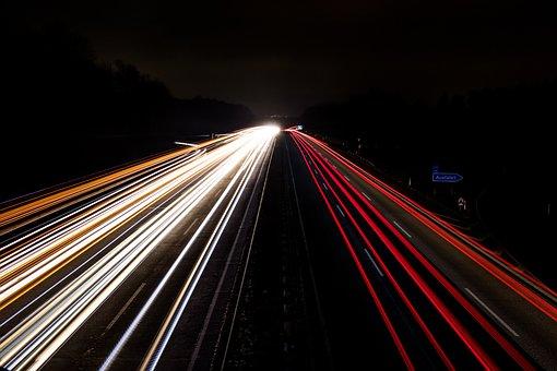 Traffic, Road, Transport System, Highway, Speed, Night