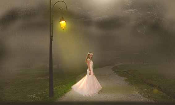 Night, Lamppost, Fog, Bride, Road