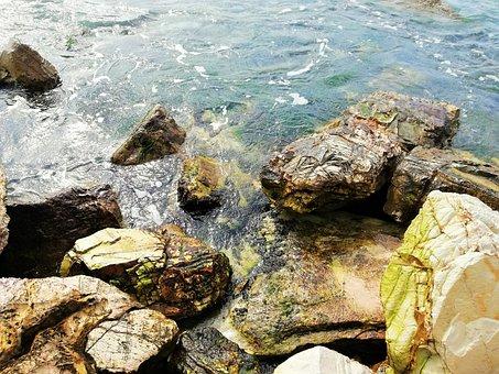 Body Of Water, Nature, Roche, Sea, Pierre, Wave, Broken