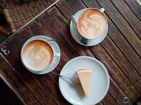 Coffee, Cup, Coffee Cup, Wood, Café Au Lait, Cheesecake