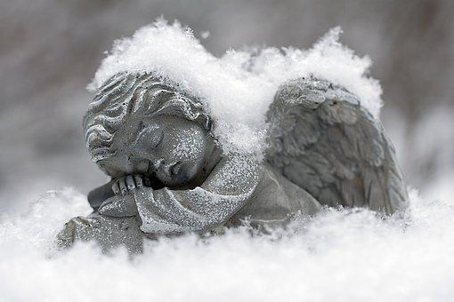 Snow, Winter, Frost, Frozen, Angel, Statue