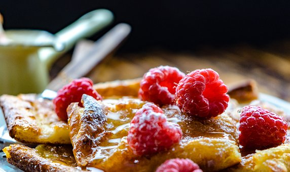 Pancake, Baking, Dessert, Snack, Honey, Raspberries
