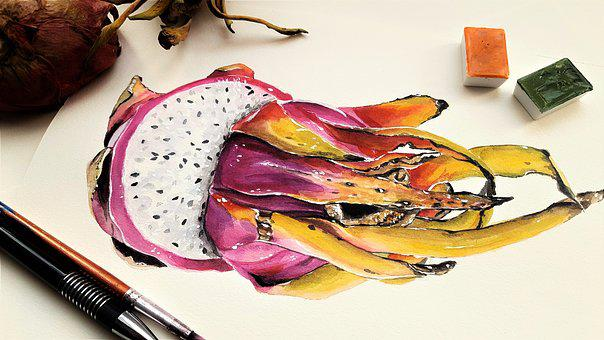Art, Painting, Pitaya, Dragon, Fruit, Egg, Meal, Purple