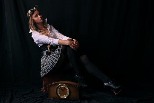 Darkness, Portrait, Charm, Model, Woman, Steampunk