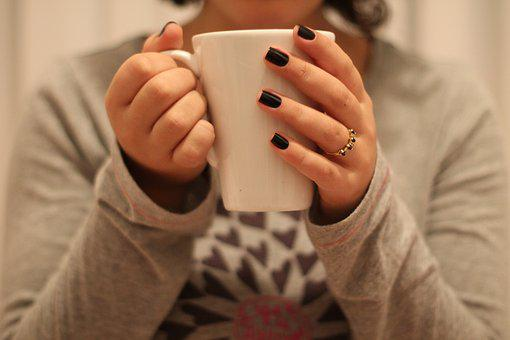 Woman, Inside The House, Mug, Cup, Nails, Room, Morning