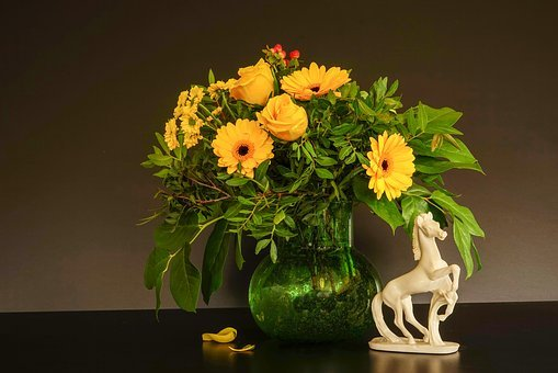 Still Life, Bouquet, Horse Sculpture, Rose Yellow
