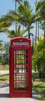 English Phone Booth, Tropical, Palm Trees, Outdoors