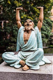 Ceramic, Figure, Monk, Yawn, Stretch, Religion
