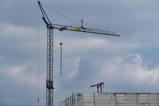 Baukran, Crane, Site, Sky, Construction Work