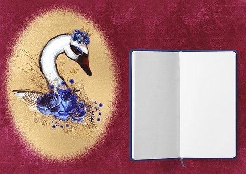 Diary, Swan, Roses, Frame, Flowers, Background, Blue