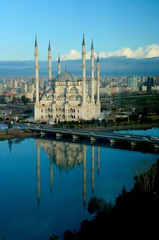 Architecture, City, Travel, Water, Sky, Sabanci Mosque
