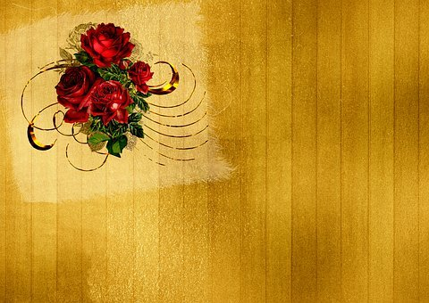 Roses, Background Image, Gold, Frame, Flowers