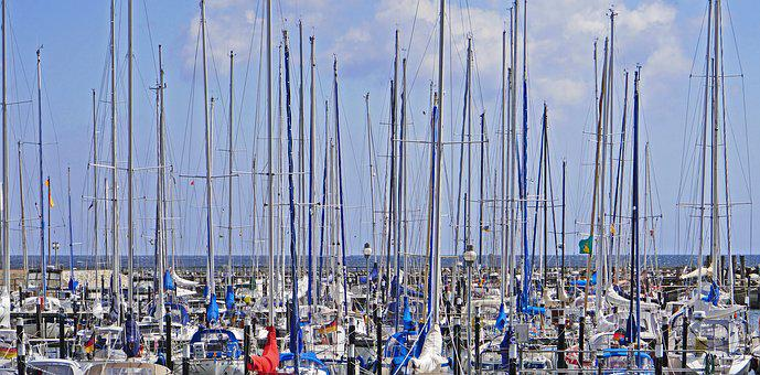 Mast Forest, Marina, Baltic Sea, Sailing Boats, Horizon