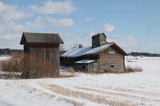 Barn, Winter, Old Building