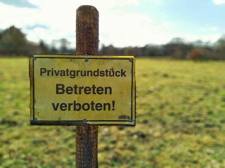 Shield, Grass, Private, Private Land, Ban