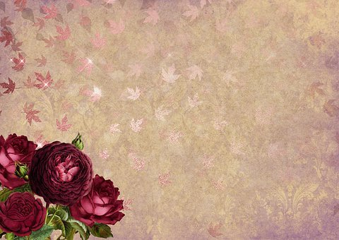 Roses, Leaves, Gold, Background Image, Flowers, Bud