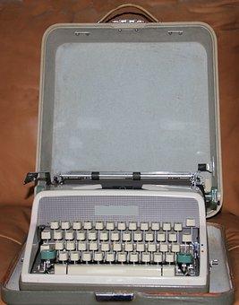 Typewriter, Vintage, 1950's, Old, Grey, Has Case