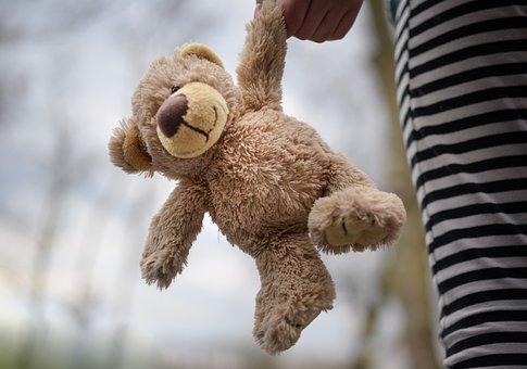 Stuffed Bear, Teddy, Child, Girl, Holding, Outside