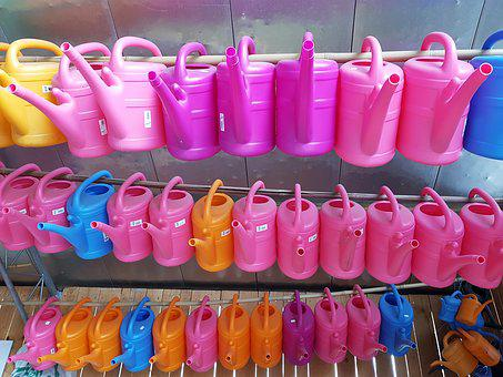 Watering Cans, Sale, Lined Up, Plastic, Goods, Colorful