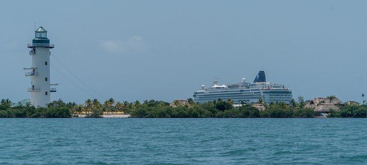 Lighthouse, Cruise Ship, Belize, Harvest Caye, Water