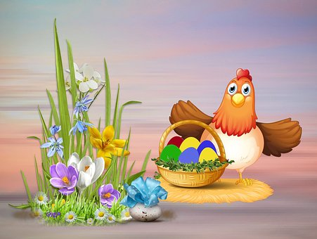Easter Holidays, Flower, Basket, Eggs