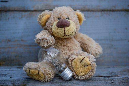 Idea, Lamp, Holding, Bear, Stuffed, Teddy, Toy, Animal