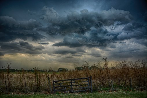 Sky, Nature, Landscape, Storm, Clouds, Gate, Autumn